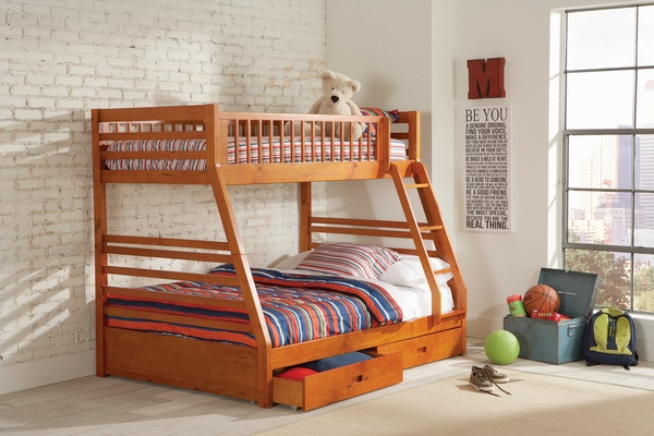 Ashton Honey Wood Twin/Full Bunk Bed with 2 Drawers by Coaster