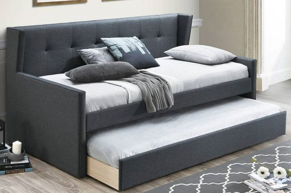 Atarah Charcoal Burlap Twin Daybed with Trundle by Poundex