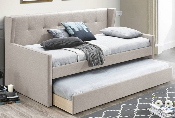 Atarah Light Brown Burlap Twin Daybed with Trundle by Poundex