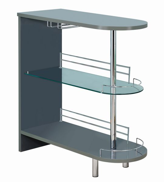 Athina Contemporary Glossy Grey Wood Bar Unit by Coaster