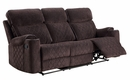 Aulada Chocolate Fabric Manual Recliner Sofa with Cupholders by Acme