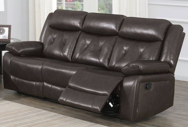 Avaline Dark Brown Gel Leatherette Manual Recliner Sofa by Poundex