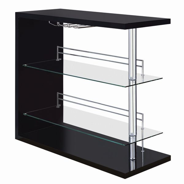 Avra Contemporary Glossy Black Wood Bar Unit by Coaster