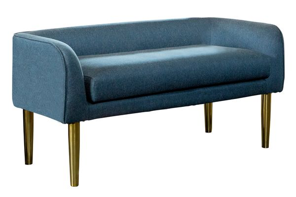 Badia Blue Woven Fabric/Gold Finish Metal Bench by Coaster