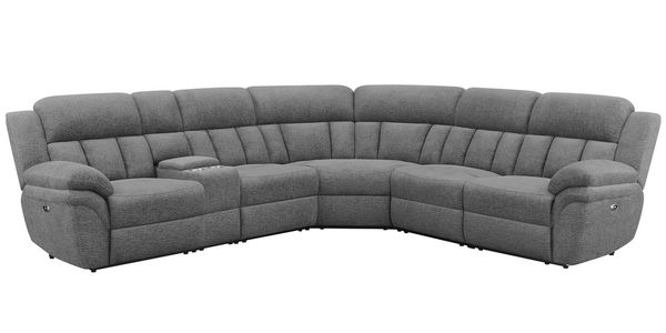 Bahrain 6-Pc Charcoal Chenille Power Recliner Sectional by Coaster