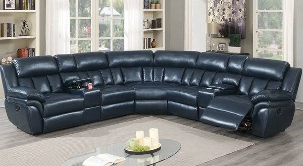 Barbora 3-Pc Navy Blue Manual Recliner Sectional Sofa by Poundex