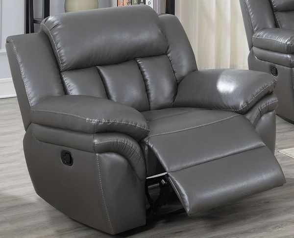 Barbora Grey Gel Leatherette Manual Recliner by Poundex