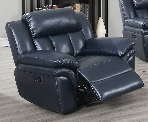 Barbora Navy Blue Gel Leatherette Manual Recliner by Poundex