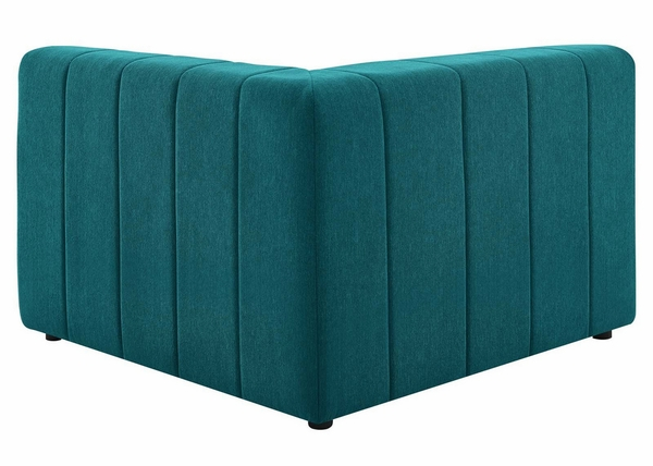 Bartlett Teal Soft Fabric Channel Tufted Sofa w/ Ottoman by Modway
