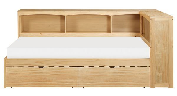 Bartly Natural Pine Finish Corner Twin Bed with Storage by Homelegance