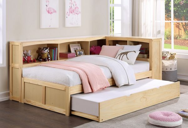 Bartly Natural Pine Finish Corner Twin Bed with Trundle by Homelegance