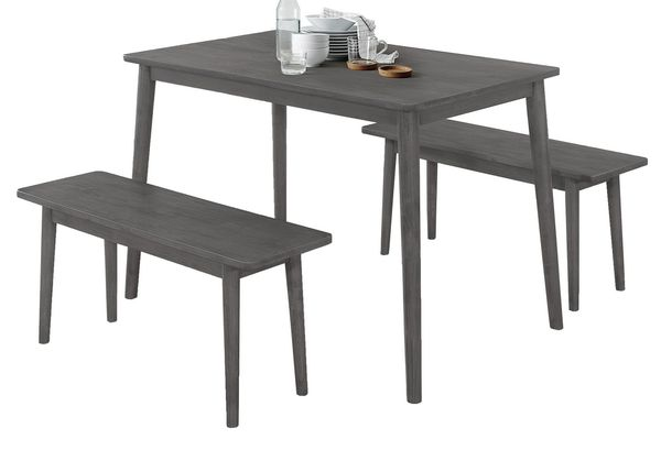 Batel 3-Pc Gray Wood Dining Table Set by Best Quality Furniture