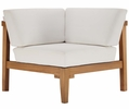 Bayport 3-Pc White Fabric/Natural Patio Sectional Sofa by Modway