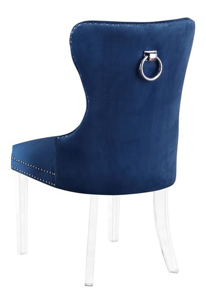 Beata 2 Navy Blue Velvet/Clear Side Chairs by Best Quality Furniture