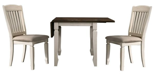 Belle 3-Pc Oak Cream Wood Dining Table Set by Best Master Furniture