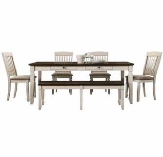 Belle 6 Pc Oak Cream Wood Dining Table Set By Best Master Furniture