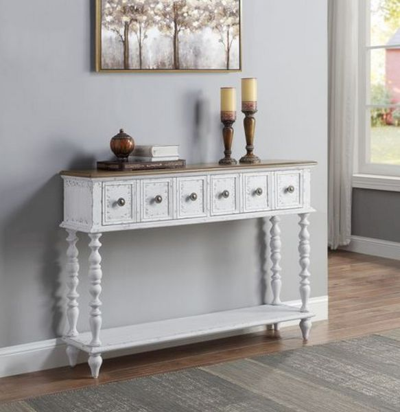 Bence Dark Charcoal/Antique White Wood Console Table by Acme