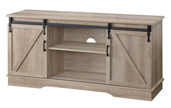 Bennet Oak Wood TV Stand with 2 Sliding Barn Doors by Acme