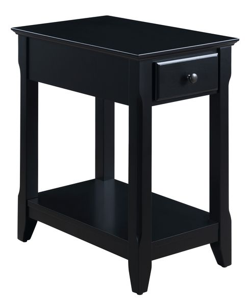 Bertie Black Wood Side Table with Drawer & Shelf by Acme