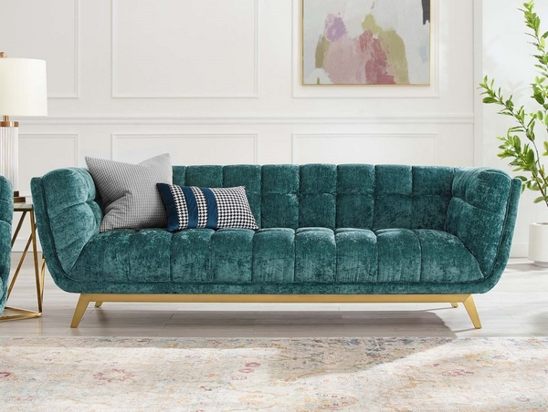 Bestow Teal Crushed Performance Velvet Sofa by Modway