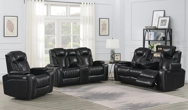 Bismark 3-Pc Black Leather Dual Power Recliner Sofa Set by Coaster