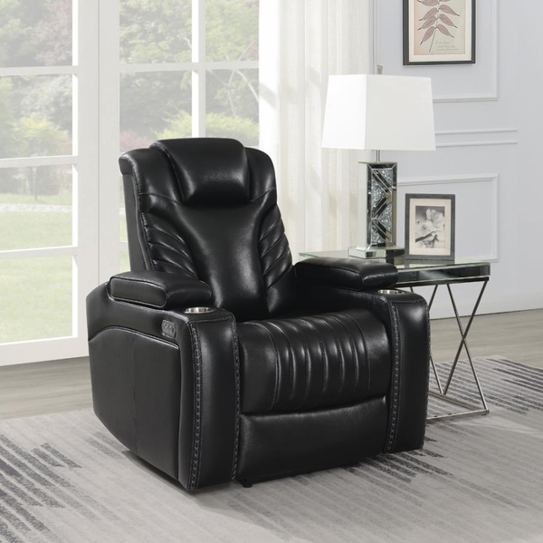 Bismark Black Leather 2xPower Recliner by Coaster