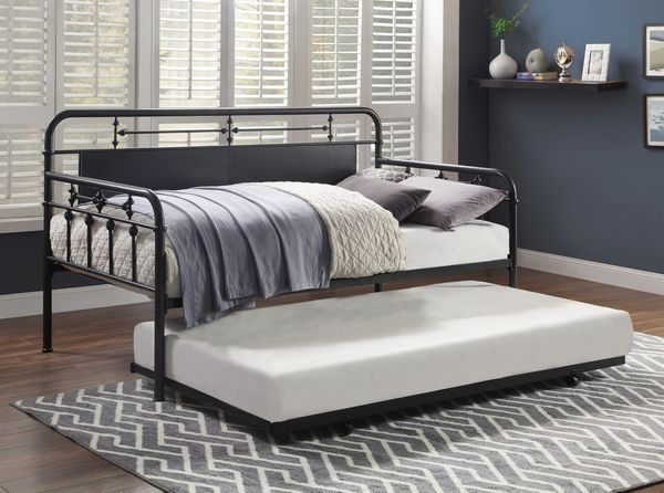 Blanchard Mottled Silver Metal Twin Daybed with Trundle by Homelegance