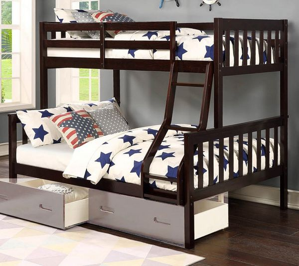 Blerta Espresso Wood Twin over Full Bunk Bed by Asia Direct