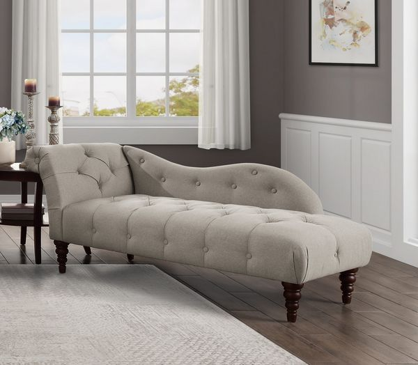 Blue Hill Brown Fabric Button Tufted Chaise by Homelegance
