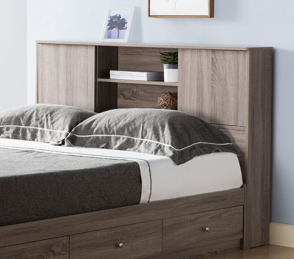 Bluma Dark Taupe Wood Twin Bed with Storages by ID USA