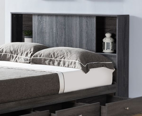 Bluma Distressed Grey Wood Full Bed with Storages by ID USA