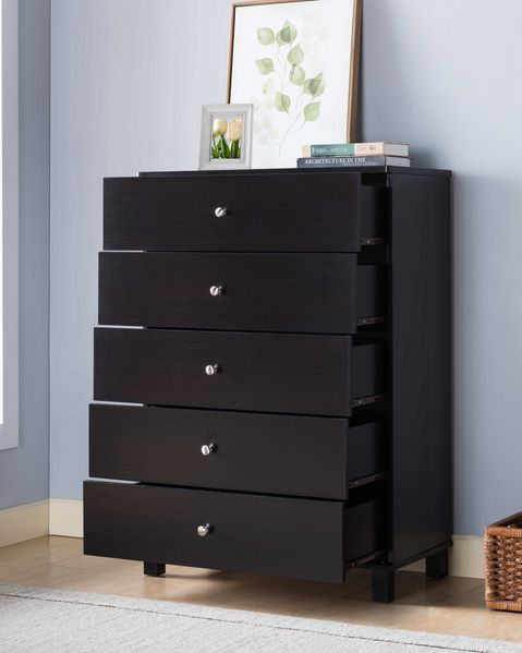 Bluma Red Cocoa Wood 5-Drawer Chest by ID USA