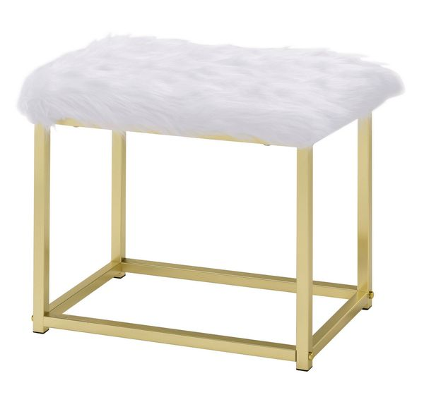 Bolitho White Wood/Matte Brass Metal Vanity Table with Mirror by Acme