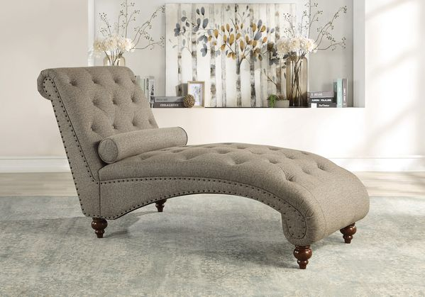 Bonne Brown Fabric Button Tufted Chaise with Nailheads by Homelegance