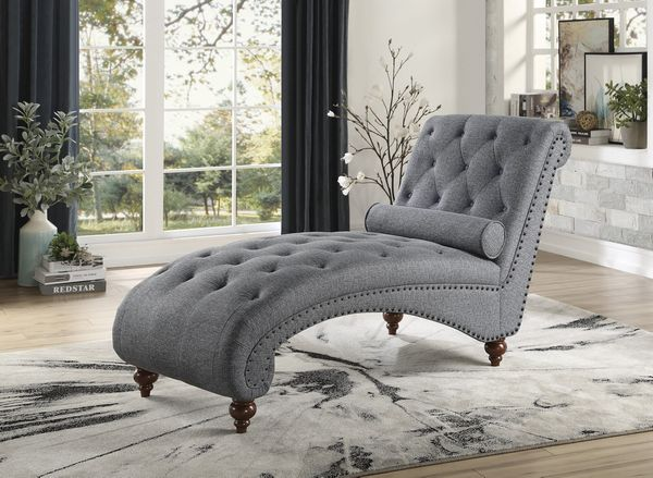 Bonne Dark Gray Fabric Button Tufted Chaise w/Nailheads by Homelegance