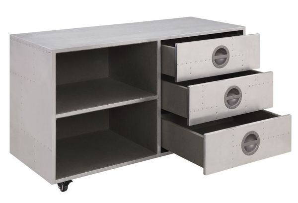 Brancaster Aluminum Metal 3-Drawer Cabinet with Open Shelves by Acme