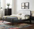 Bridgette Black Wood/White Fabric Full Bed with Splayed Legs by Modway