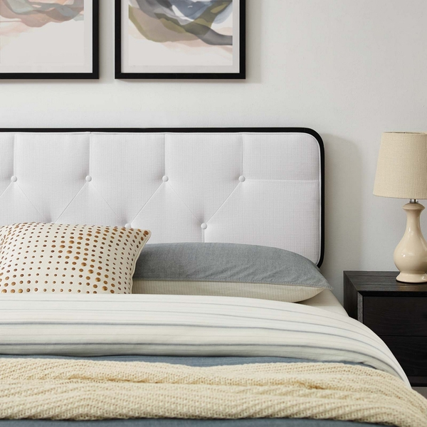 Bridgette Black Wood/White Fabric Queen Bed w/ Splayed Legs by Modway