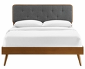 Bridgette Walnut Wood/Charcoal Fabric Queen Bed by Modway