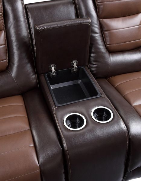 Briscoe Two-Tone Faux Leather Manual Recliner Loveseat by Homelegance