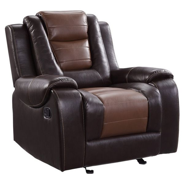 Briscoe Two-Tone Premium Faux Leather Manual Recliner by Homelegance