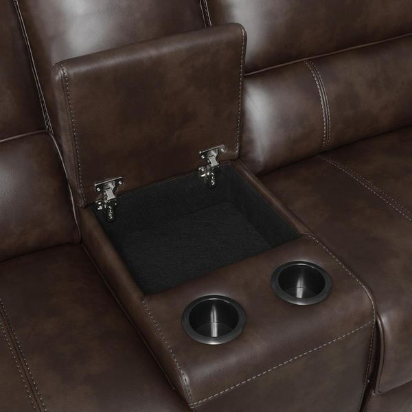 Brunson 3-Pc Brown Leatherette Manual Recliner Sectional by Coaster