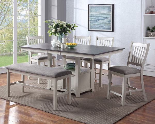 Buford 2 Grey Fabric/Chalk Wood Counter Height Chairs by Crown Mark