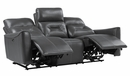 Burwell 2-Pc Gray Faux Leather Power Recliner Sofa Set by Homelegance