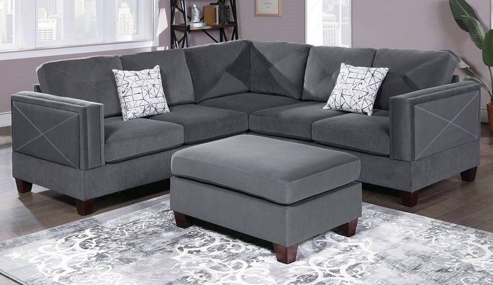 canora grey velvet sectional sofa with ottoman by poundex