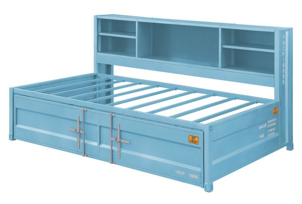 Cargo Aqua Metal Twin Daybed with Trundle & Bookcase Headboard by Acme