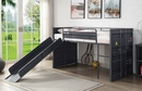 Cargo Gunmetal Finish Metal Twin Loft Bed with Slide by Acme