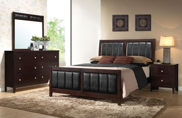 Carlton 4-Pc Cappuccino Wood/Leatherette Twin Bedroom Set by Coaster