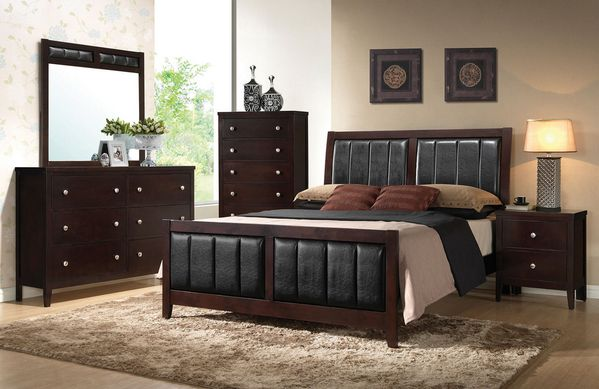 Carlton 5-Pc Cappuccino Wood/Leatherette Twin Bedroom Set by Coaster