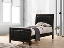Carlton Black Leatherette/Cappuccino Wood Twin Bed by Coaster